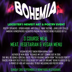 BOHEMIA (Poetry & Arts Event with 3 course meal)