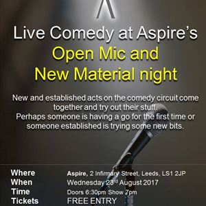 New material and open mic at Aspire
