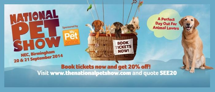 20% off National Pet Show tickets here!
