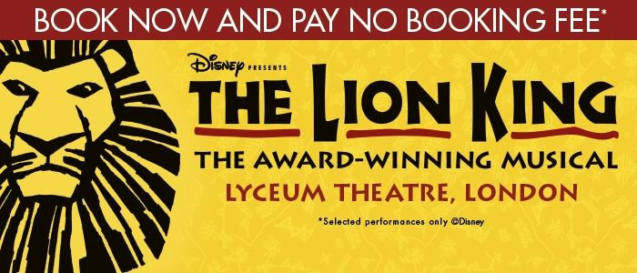 No booking fee offer for The Lion King