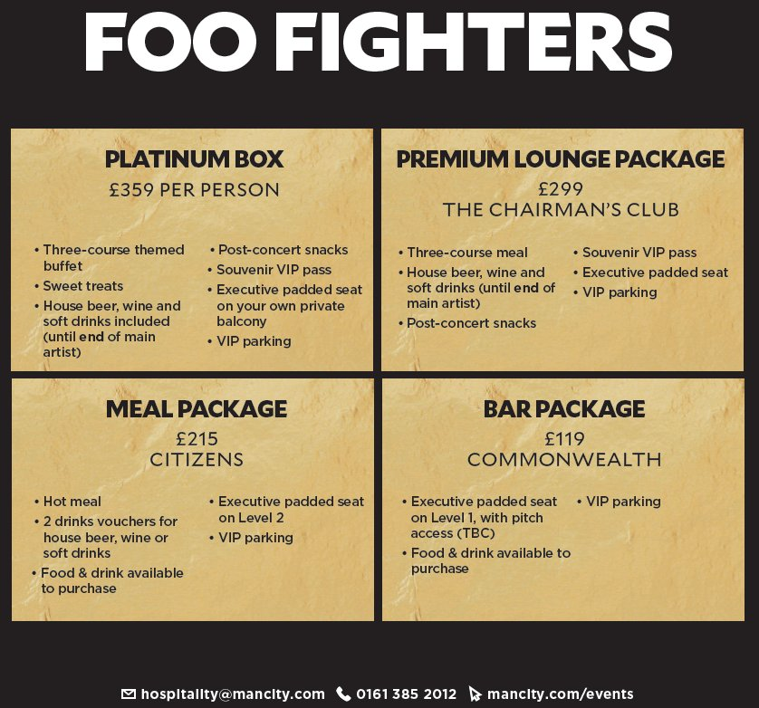 Foo Fighters - Hospitality Information