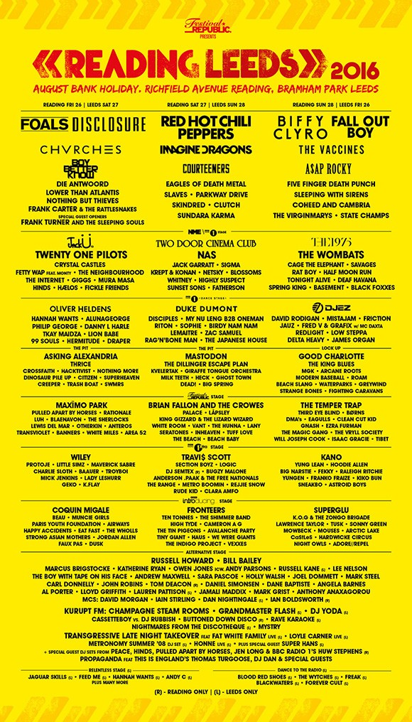 Reading & Leeds Festival 2016 line-up