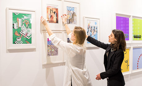 Visitors enjoying art at Battersea Autumn
