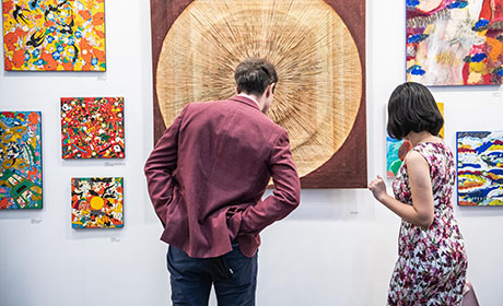 Visitors enjoying art at Hong Kong fair
